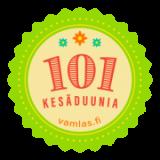 Vihreä pyöreä logo, jossa teksti 101 kesäduunia, Vamlas.fi