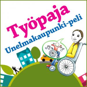 Nuori tyttö pyörätuolissa osallistumassa Unelmakaupunki peliin